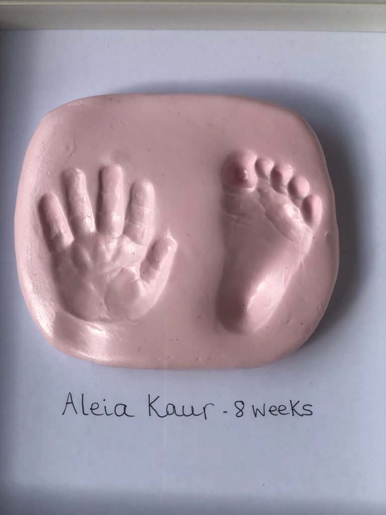 baby heart and footprint in air dry clay