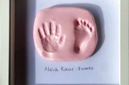 image of framed baby foot and hand prints